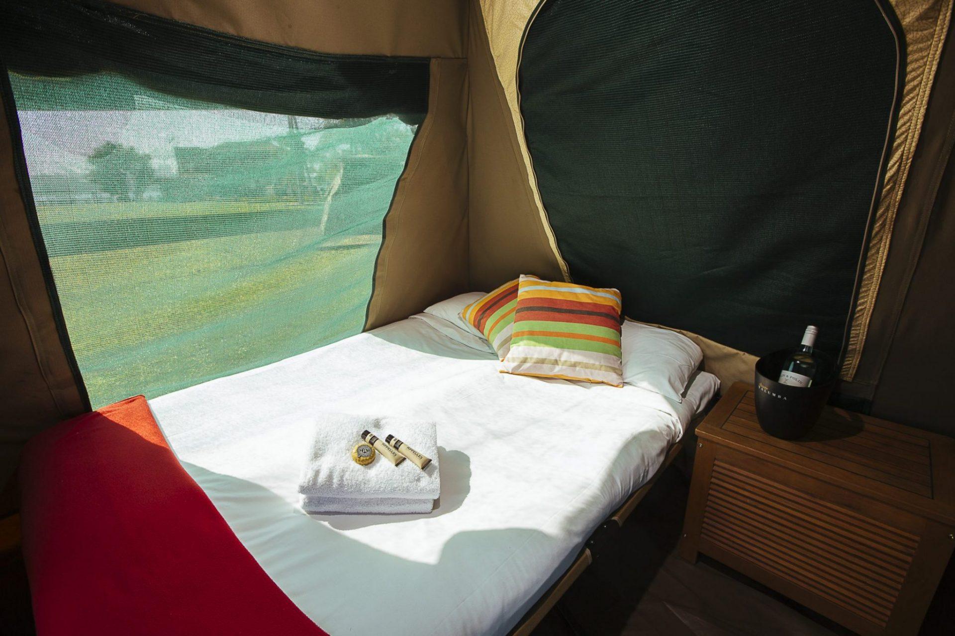 Bed inside the glamping tent, Cockatoo Island Credit - Zakarij Kaczmarek