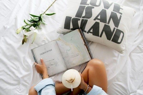 THIS ISLAND LIFE   Kawaiian Lion 'Love is an island' cushion