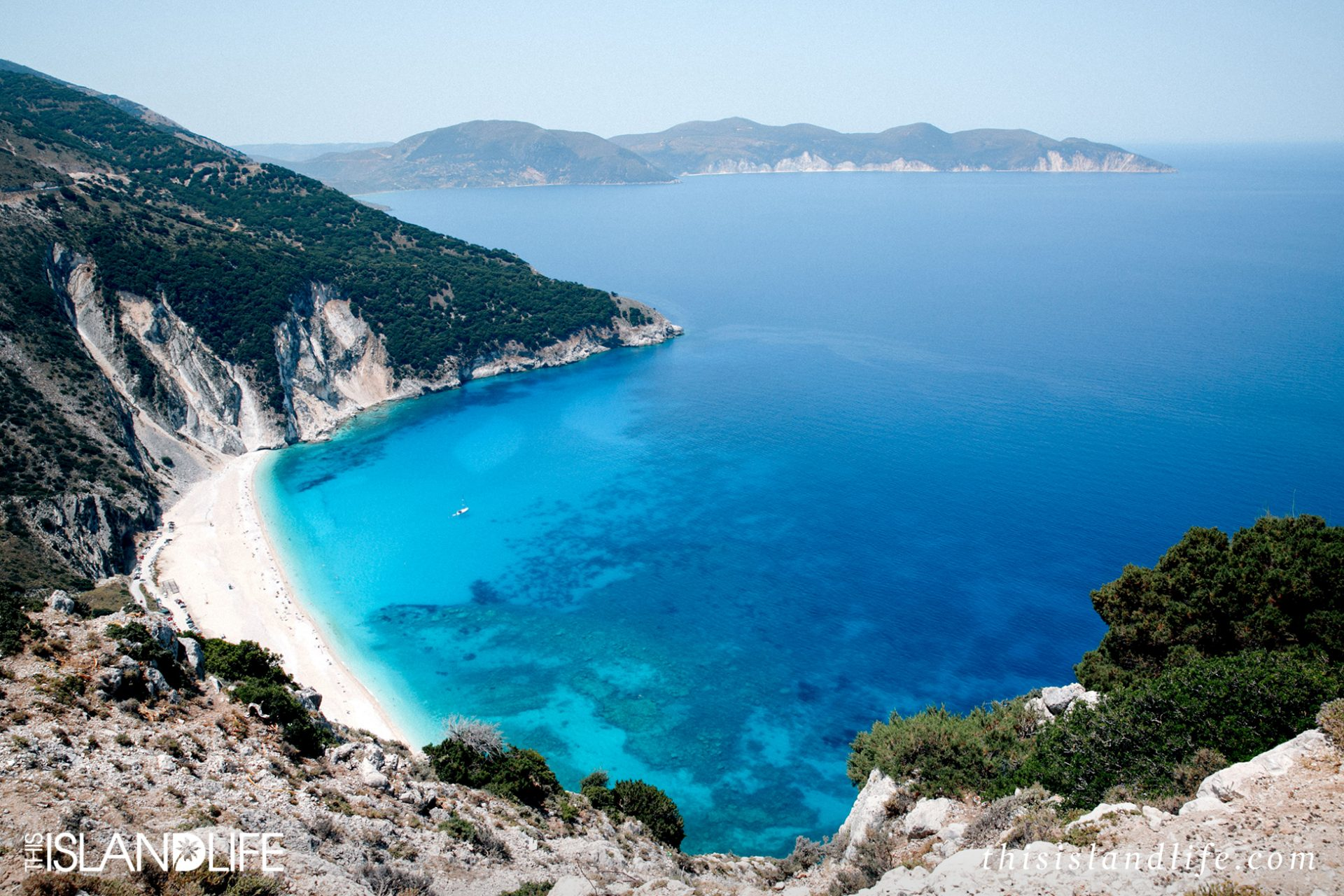View of Myrtos Beach, Kefalonia Ionian Islands Greece