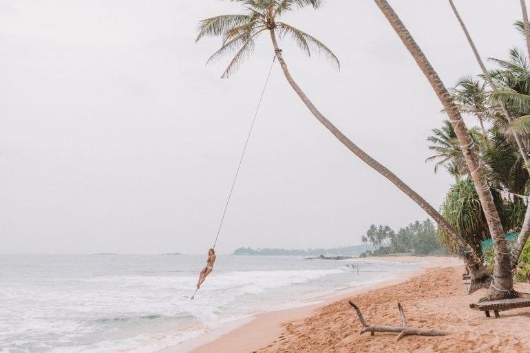 Sri Lanka's most instagrammed palm tree and its rope swing on Dalawella Beach