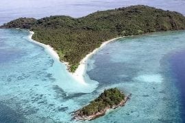 Drone photograph of private island for sale in El Nino, Palwawan, Philippines.