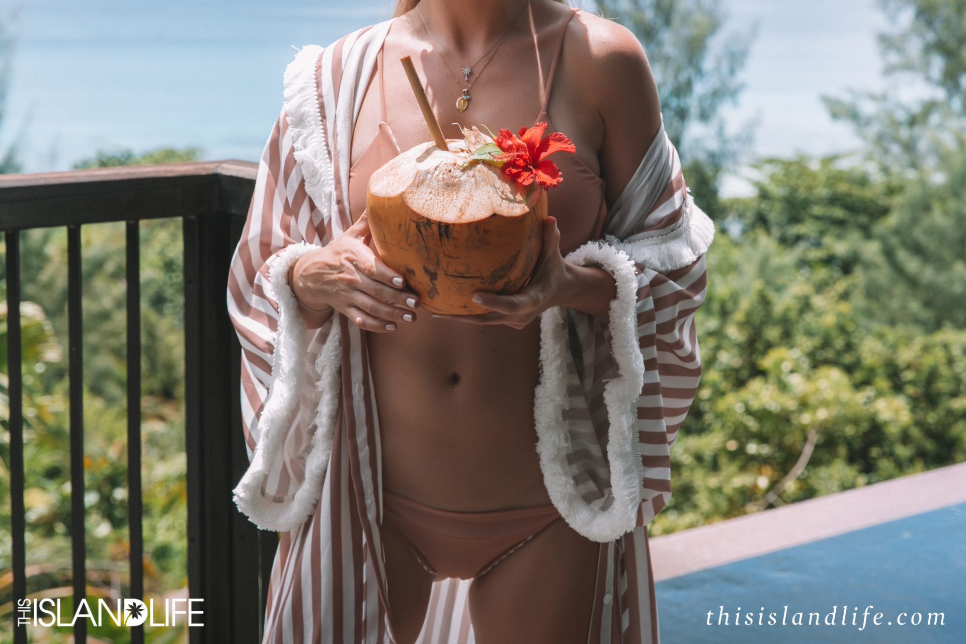 Travel blogger Laura McWhinnie from This Island Life at Raffles Seychelles on Praslin Island.