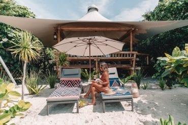 Beach villa on Bawah Island, Indonesia