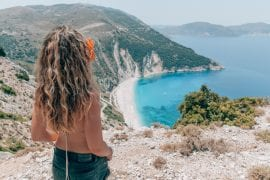 Girl at Myrtos Beach on Kefalonia Island, Greece
