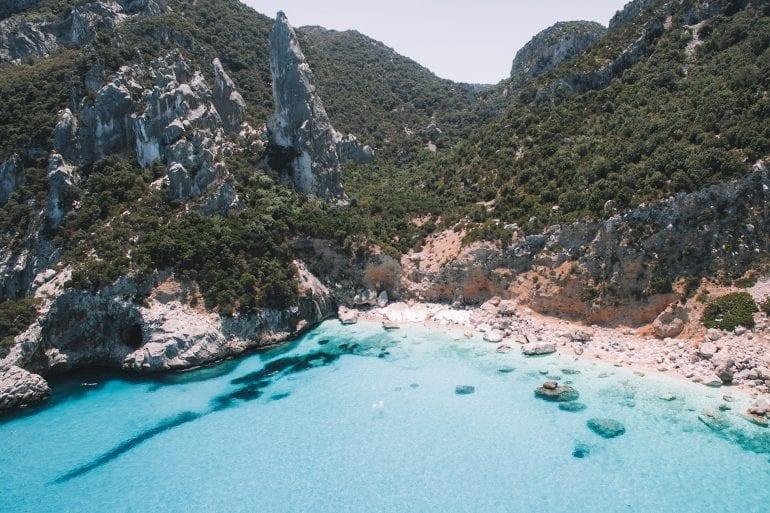 Drone photo of Cala Goloritzé beach in Sardinia